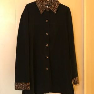 Jackets & Blazers - Black Dress Coat with Animal Accents Size M